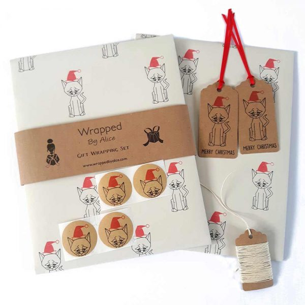 christmas cat gift wrapping set