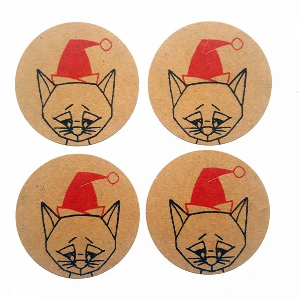 4 brown kraft stickers with cat's face, wearing red santa hat