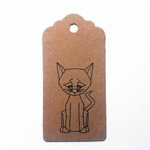 cat gift tag, brown kraft parcel tag with scalloped edges and black cat print