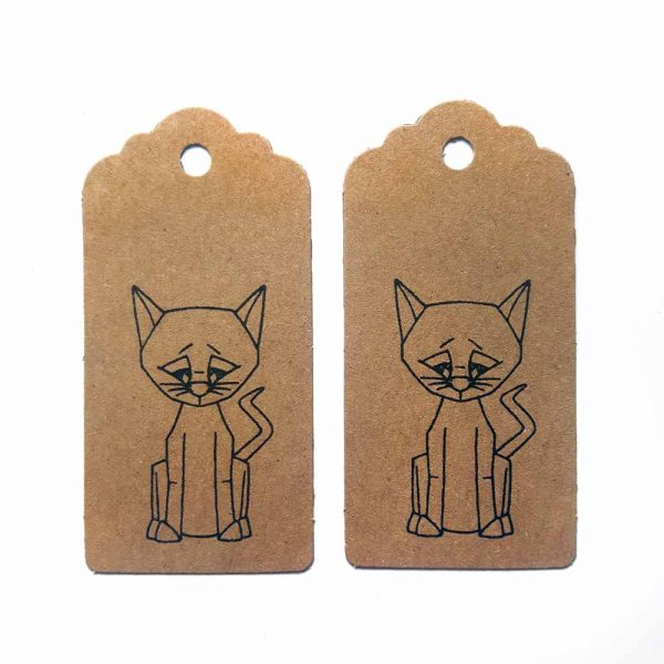 2 brown kraft parcel tags, with black cat design