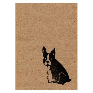 Image showing the front of A7 French Bulldog kraft greeting card