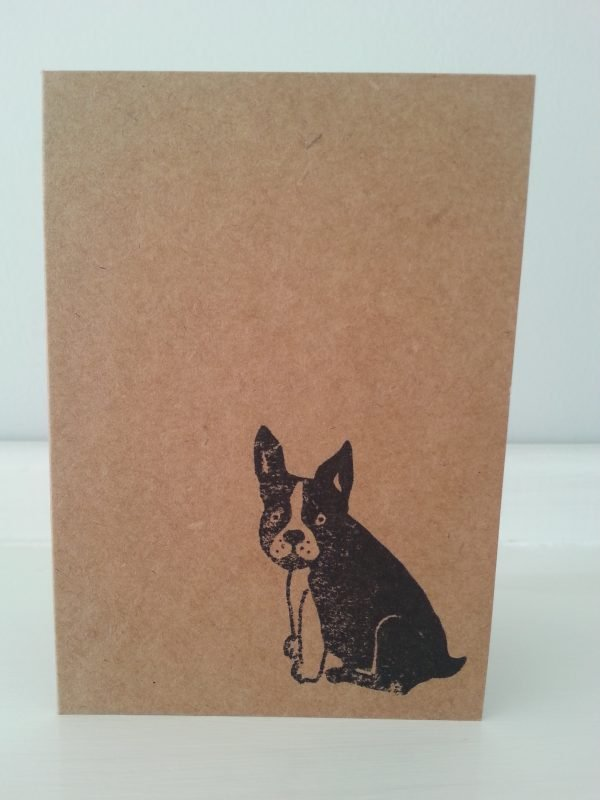 Frenchie mini kraft greeting card