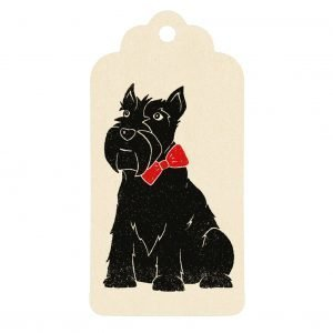 Cream scottie dog gift tag