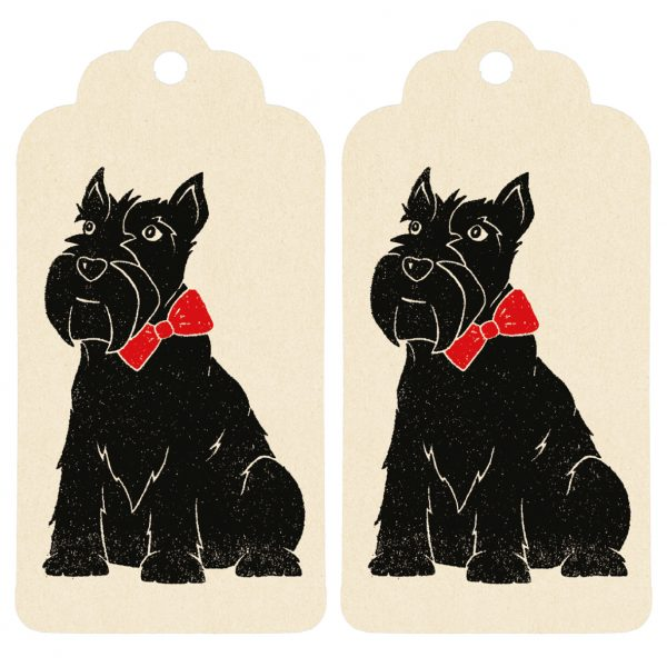two scottie dog gift tags, cream tags with scottie dog print