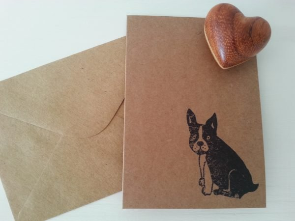 French Bulldog notelet, with matching kraft envelope