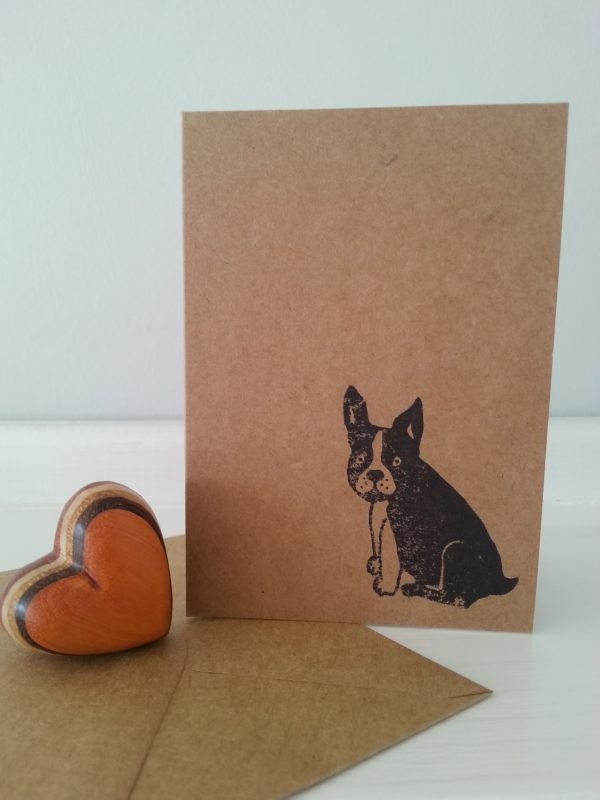 A7 French Bulldog mini notecard, with envelope