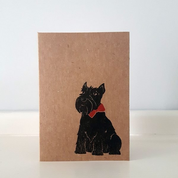 Hamish the Scottie Dog greeting card. A7 in size, printed by hand onto eco-friendly brown kraft card