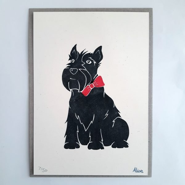 Scottie dog block print with grey backing card. Scottish terrier with red bow tie