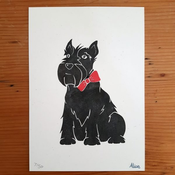 A5 Scottie Dog art print by Wrapped By Alice