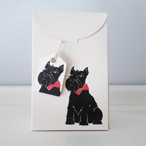scottie dog gift box, closed. Cream scottish terrier print mini gift box, with matching gift tag