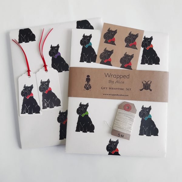 scottie dog gift wrapping set, Cream gift wrap set with scottie dog print, wrapping paper sheets, gift tags, stickers, twine