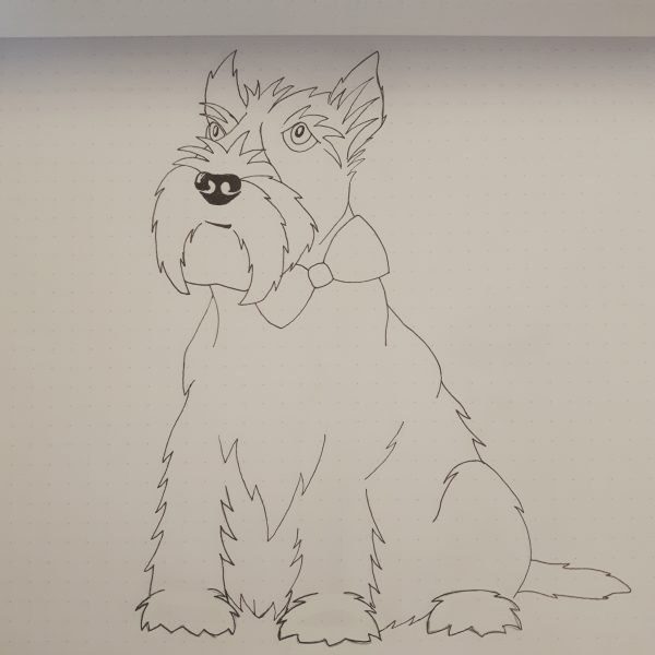 First sketch of Wrapped By Alice Hamish the Scottie Dog Design