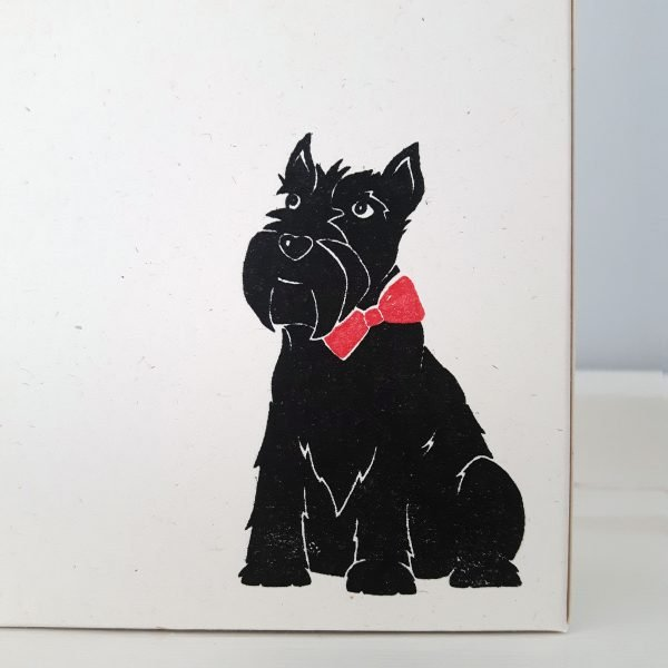 close up of scottie dog gift box, showing scottie dog print