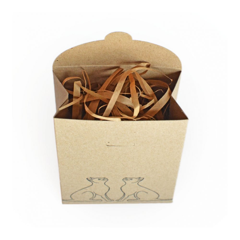 opened kraft gift box, tapered gift box, with shredded kraft paper packing