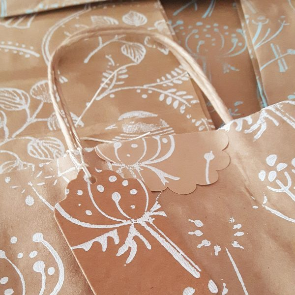 Close up of a sealed gift bag