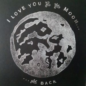 Close up of I Love You to the Moon and Back card