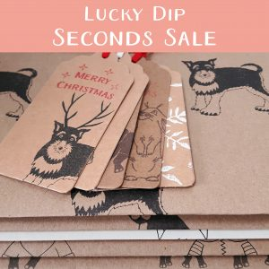Wrapped By Alice Lucky Dip Seconds Sale, 5 sheets of folded wrapping paper, 5 gift tags