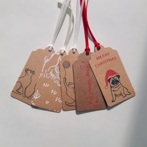 selection of sales gift tags, Christmas Pug, Valentine's, Cat, and Deer designs