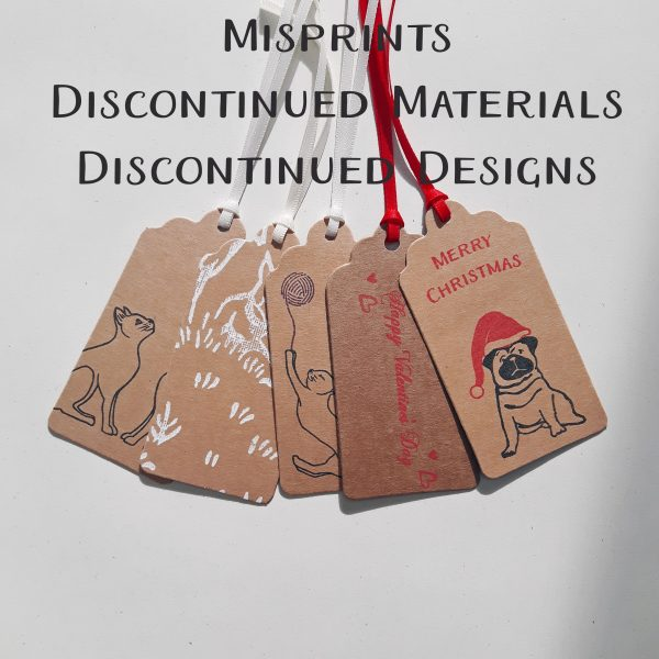 Image showing seconds gift tags, with explanation as to what is included - misprints, discontinued materials and designs