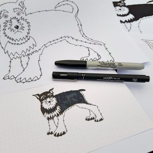 Sketches of schanuzers, illustration development of Wrapped By Alice Geoffrey the Schnauzer design