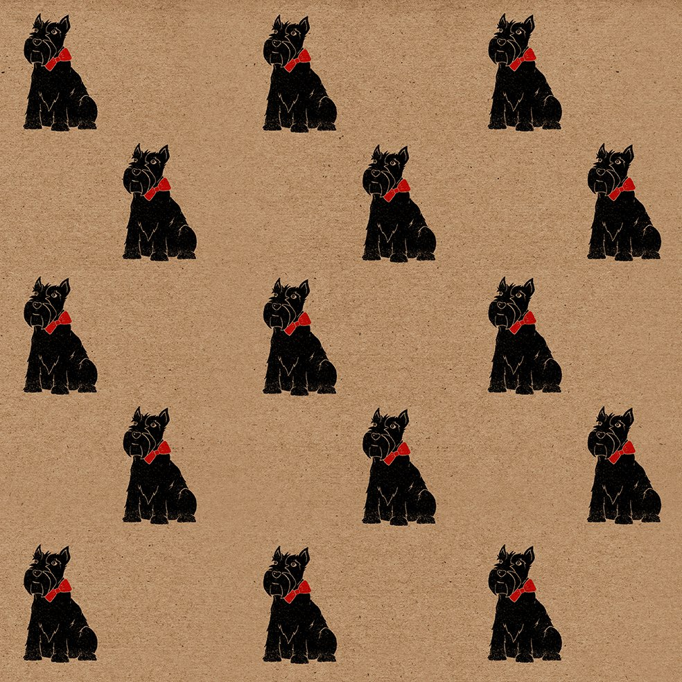 Scottie Dog kraft wrapping paper