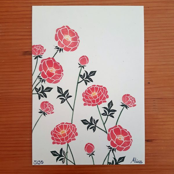 peony print on wood background