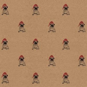 Image showing mid-range shot of my Christmas Pug wrapping paper sheet