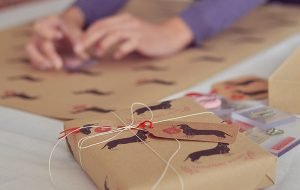 Alice printing Christmas Dachshund wrapping paper