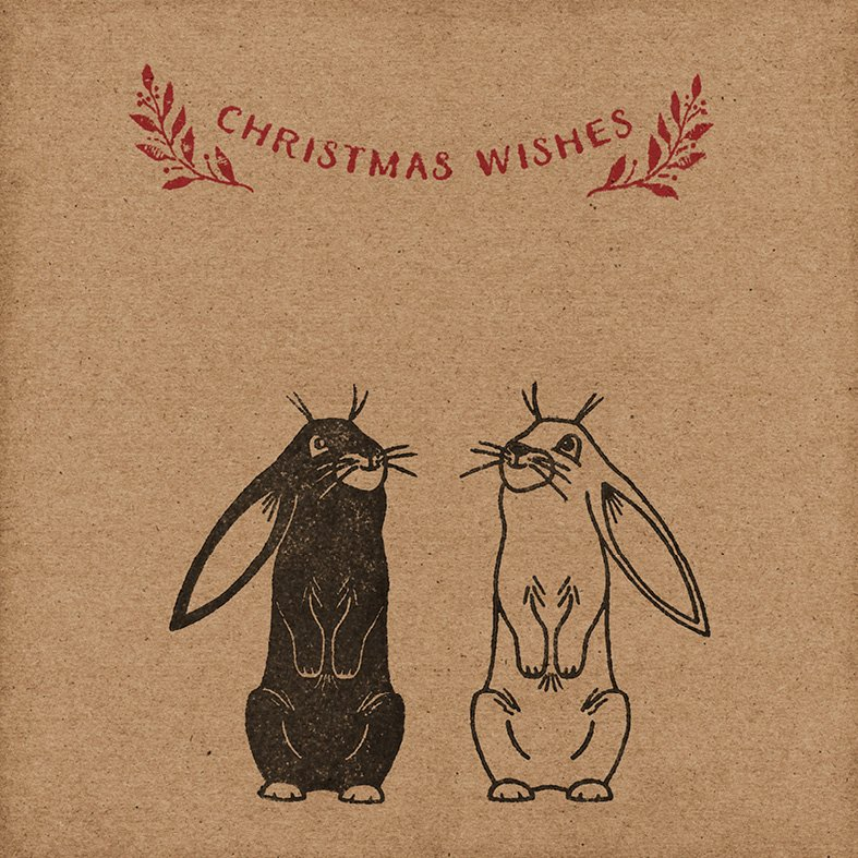 Bunnies Christmas Card, Handmade & Eco-Friendly - Wrapped By Alice
