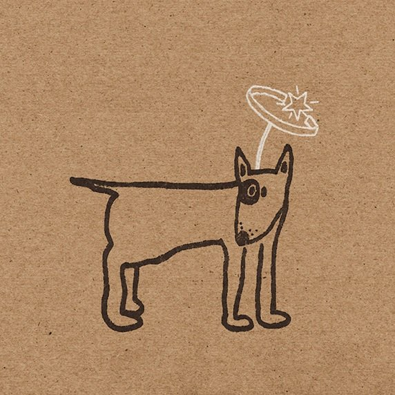 Close up of bull terrier with silver halo, printed on brown kraft