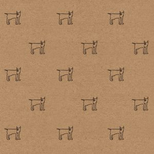 english bull terrier wrapping paper. Black bullies on brown kraft