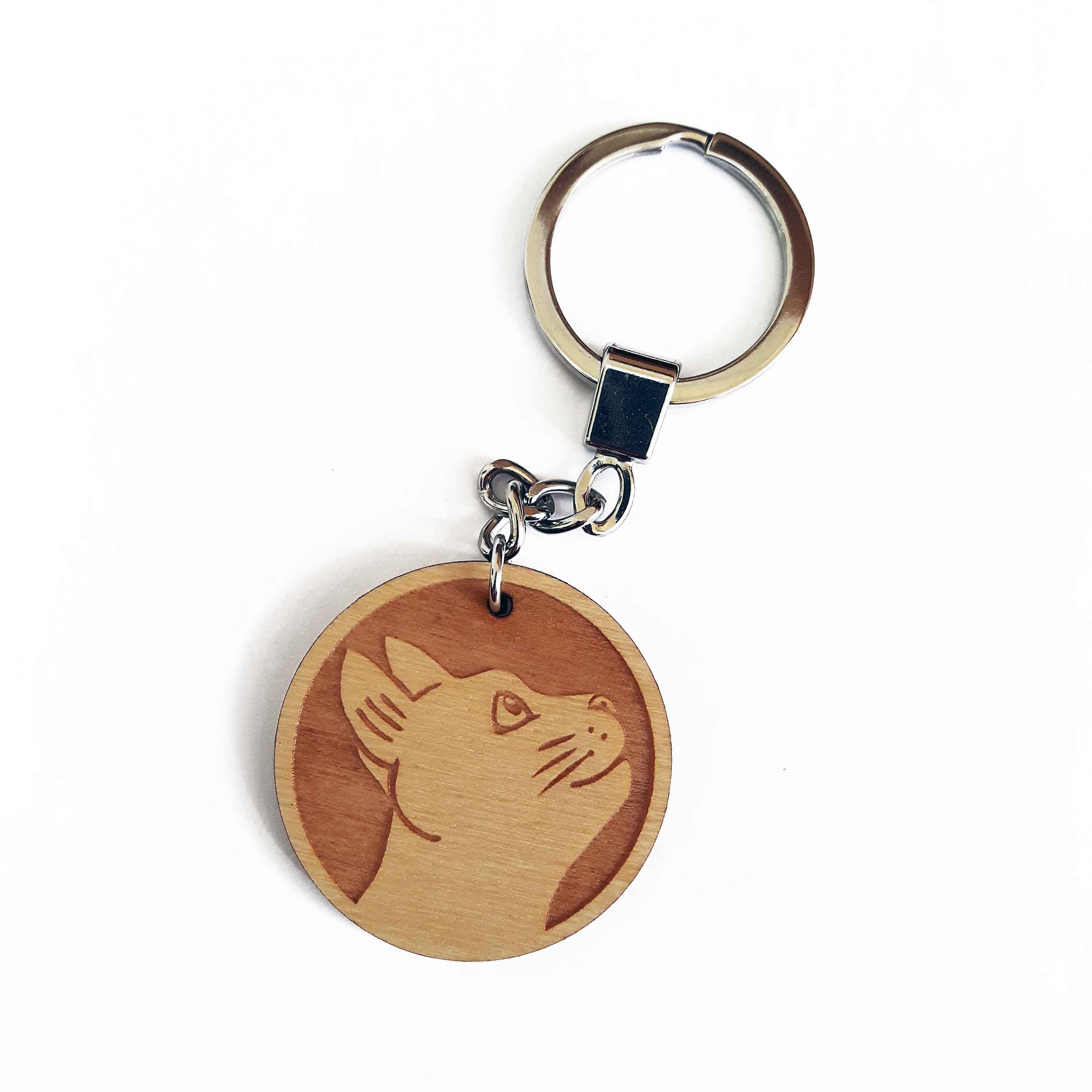 Cat Keyring Wooden Laser Cut Keyring Wrapped By Alice