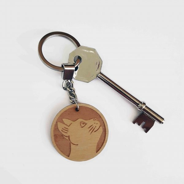 cat keyring, with key attached. Wooden laser engraved plaque with cat design, on silver tone keychain