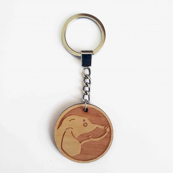dachshund keyring showing wooden plaque, and full length of silver key chain with flat split ring.