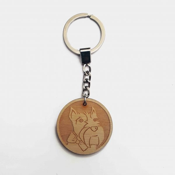scottie dog keyring - wooden laser cut scottie dog keyring on silver tone key chain