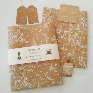 deer print christmas gift wrapping set, including 2 folded wrapping paper sheets, 2 gift tags, 4 stickers and 5m of hemp cord