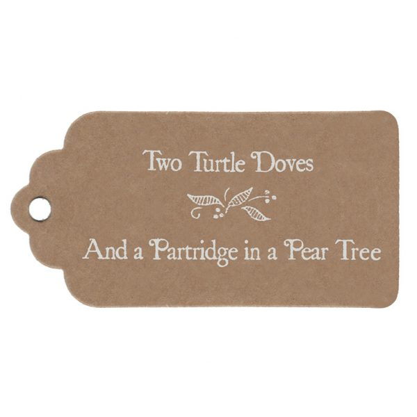 Brown kraft tag with Christmas song lyrics - two turtle doves and a partridge in a pear tree