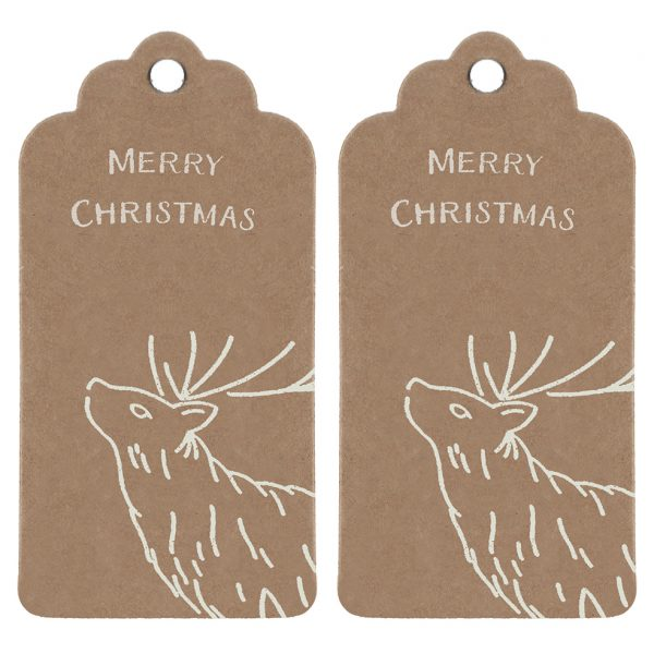 Deer Print Christmas Gift Tags - 2 brown kraft tags