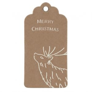 Christmas Deer Gift Tag, kraft tag with stag and Merry Christmas message in white.