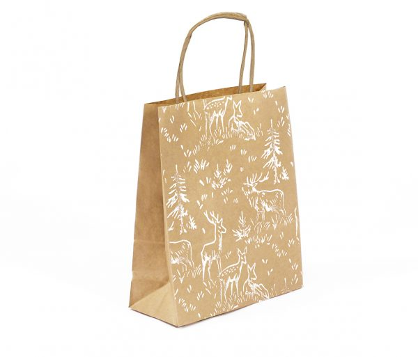 Christmas gift bag, small kraft gift bag with deer print