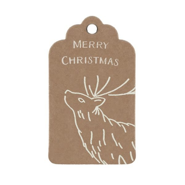 Small Christmas gift tag, kraft tag with white stag and merry christmas message