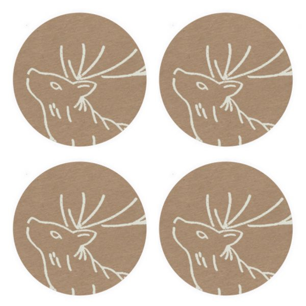 4 kraft stickers with stag design