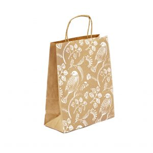 Eco-friendly Christmas bag, with Turtle Dove print on 100% recycled kraft.