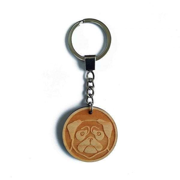 pug keyring, wooden laser cut keyring, with silver tone key chain and split ring
