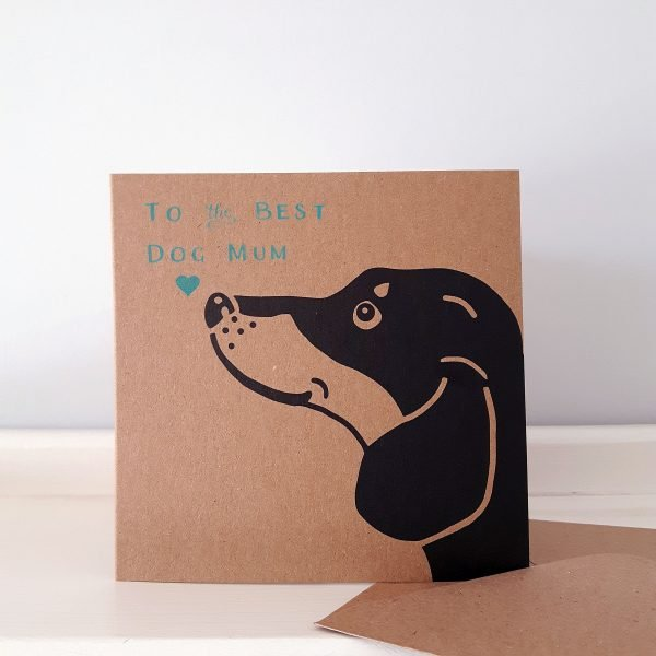 dachshund mother's day card, brown kraft card with a black dachshund face, and the message 'To the Best Dog Mum'