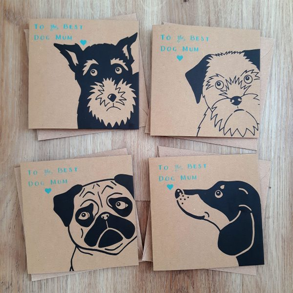 Full Dog Mum card range - dachshund design, pug design, border terrier design and schnauzer design