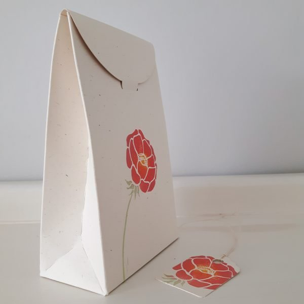 side view of tapered floral gift box