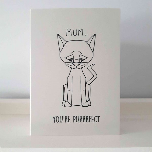 cat mother's day card, grey card with cat and message, 'mum, you're purrrrfect'