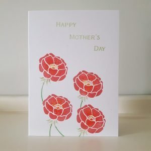 floral mother's day card, with pink peonies