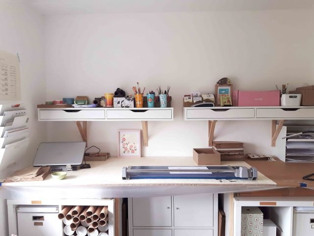 my workspace. my printing table with cube storage beneath and shelving above